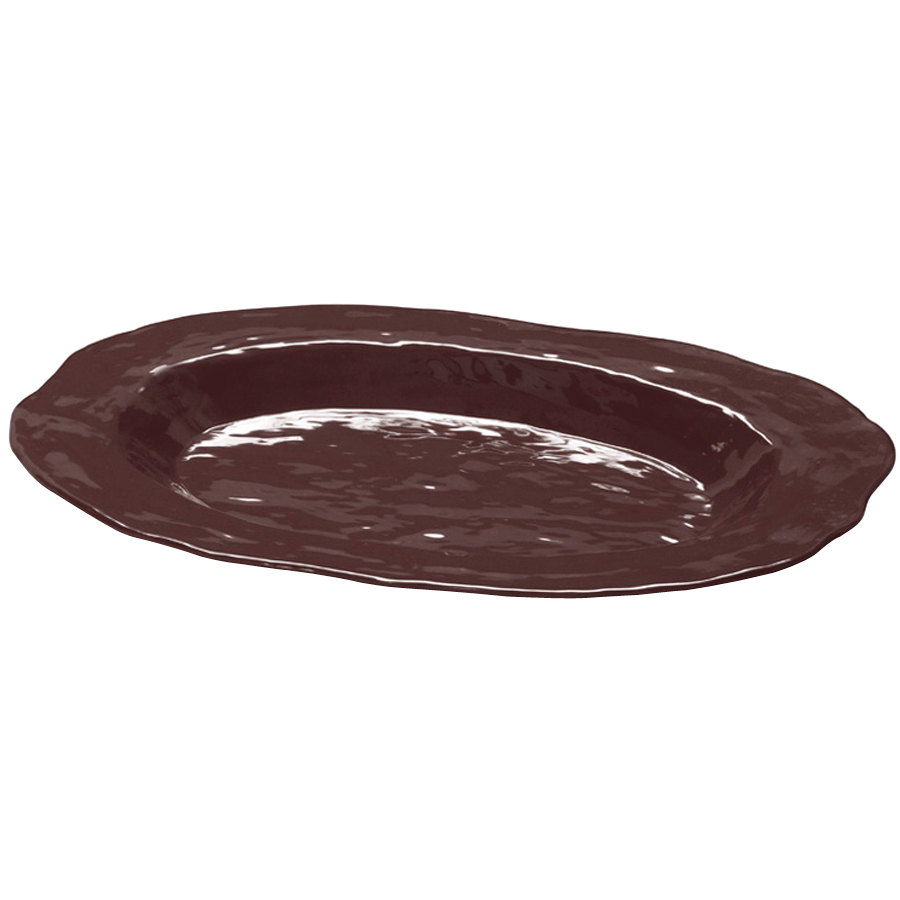 "GET ML-137-BR New Yorker 17 3/4"" x 13"" Oval Platter - Brown"