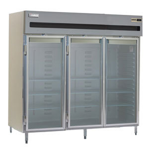 Delfield Stainless Steel SSH3-G 78.89 Cu. Ft. Glass Door Three Section Reach In Heated Holding Cabinet - Specification Line