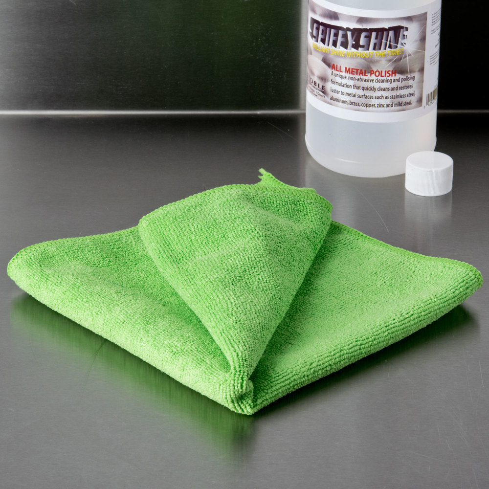 "16"" x 16"" Green Microfiber Cleaning Cloth"