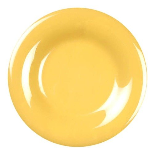 "9 1/4"" Yellow Wide Rim Melamine Plate - 12/Pack"