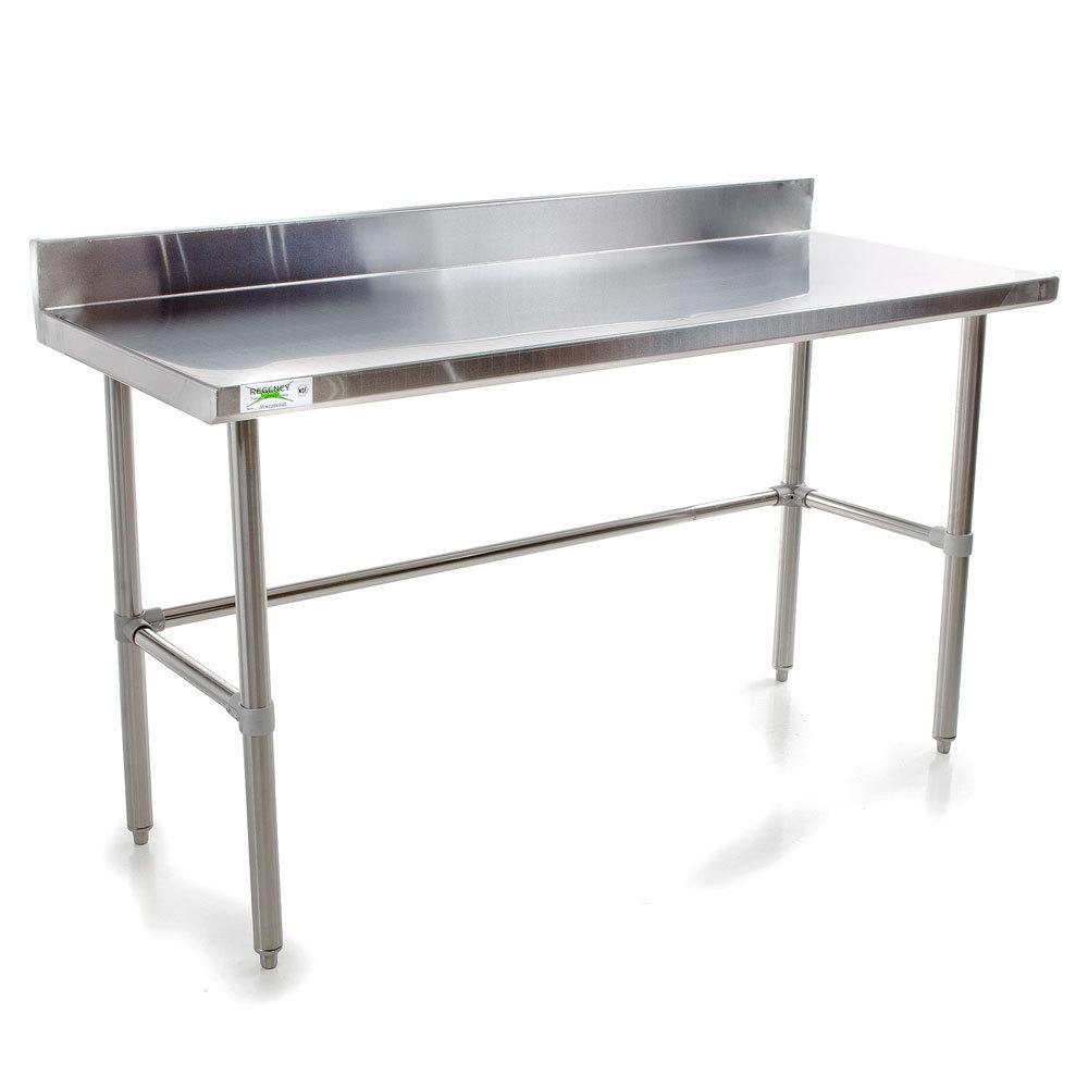 regency 16 gauge 30 x 72 stainless steel commercial open base work table with backsplash. Black Bedroom Furniture Sets. Home Design Ideas