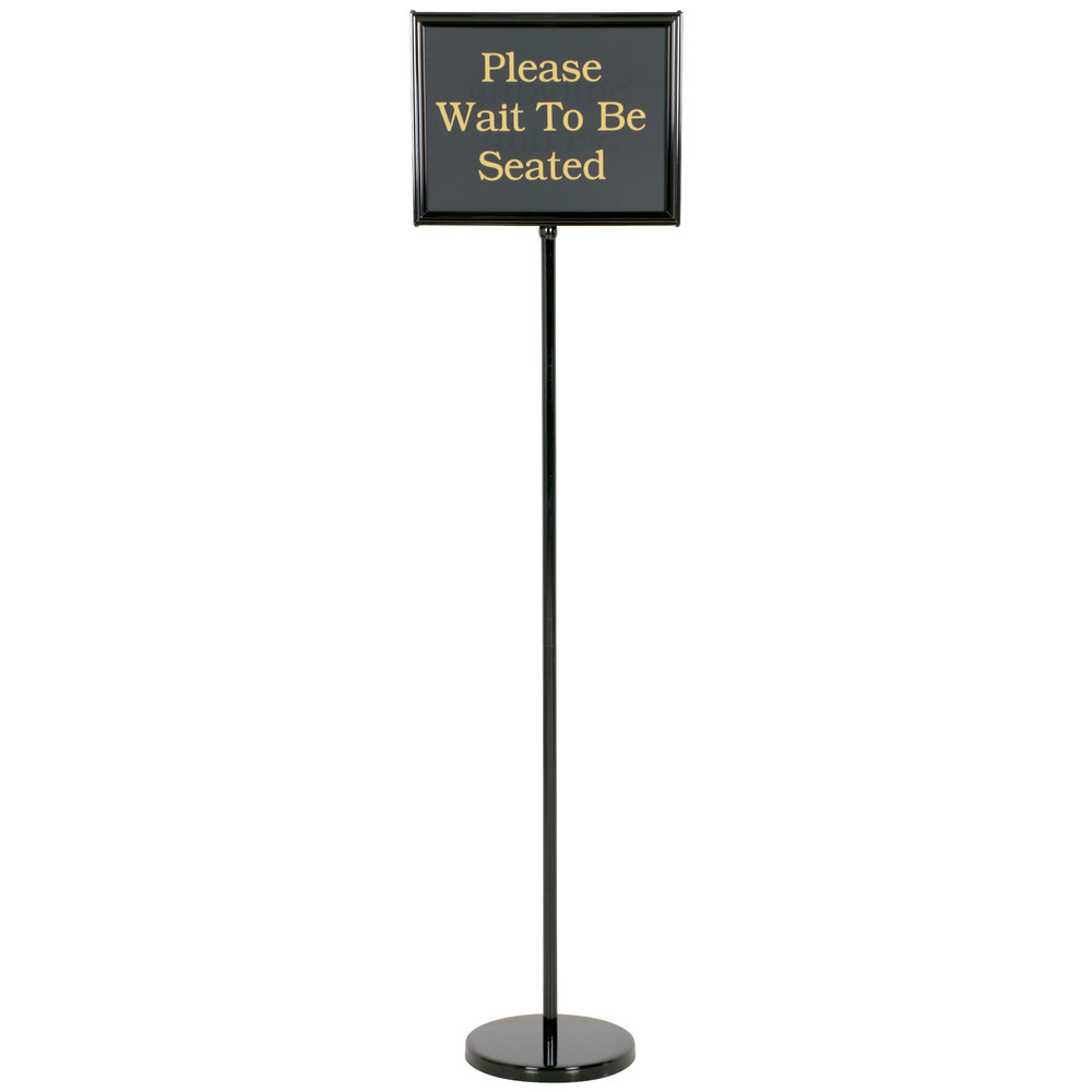 "Black Aluminum 60"" Changeable Hostess / Teller Sign with 15 Messages"