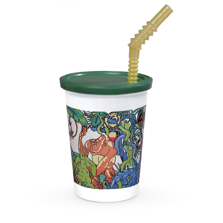 WNA Comet 12 oz. Plastic Kids Cup - Jungle with Reusable Lid and Straw - 250/Case at Sears.com