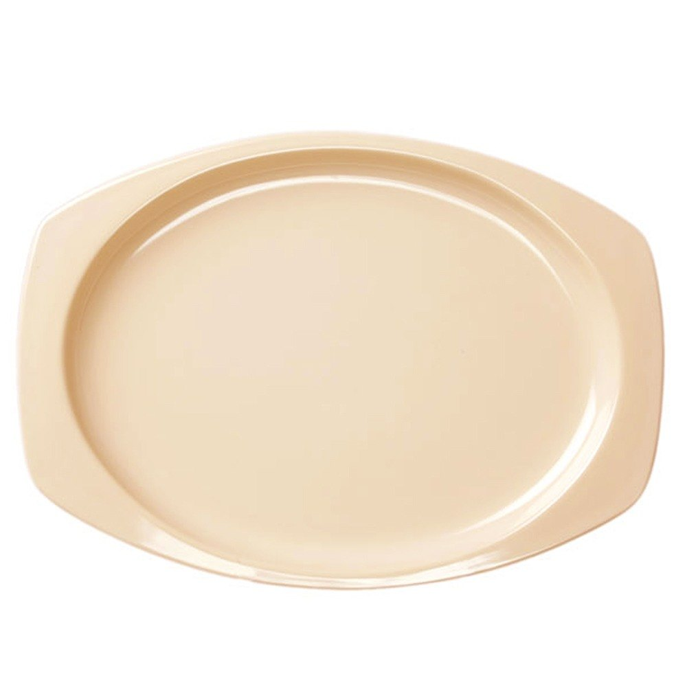 "Thunder Group NS215T Nustone 15"" x 10 5/8"" Tan Melamine Rectangular Platter - 12/Pack"