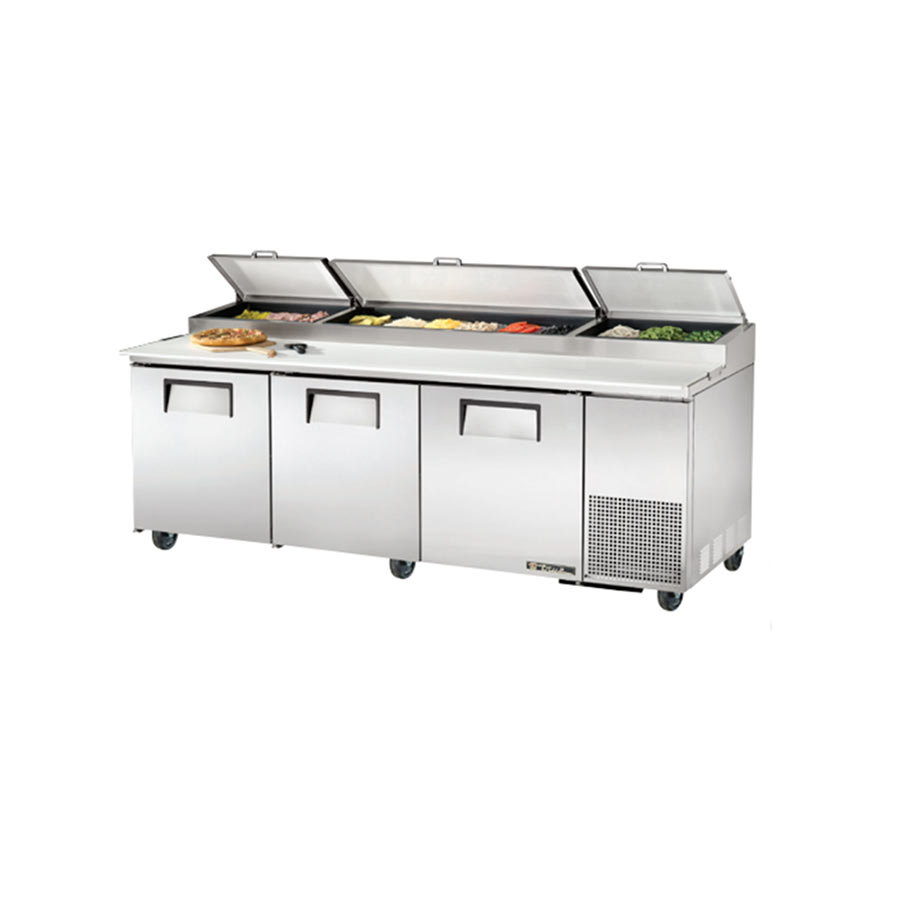 True TPP-93 93 inch 3 Door Refrigerated Pizza Prep Table
