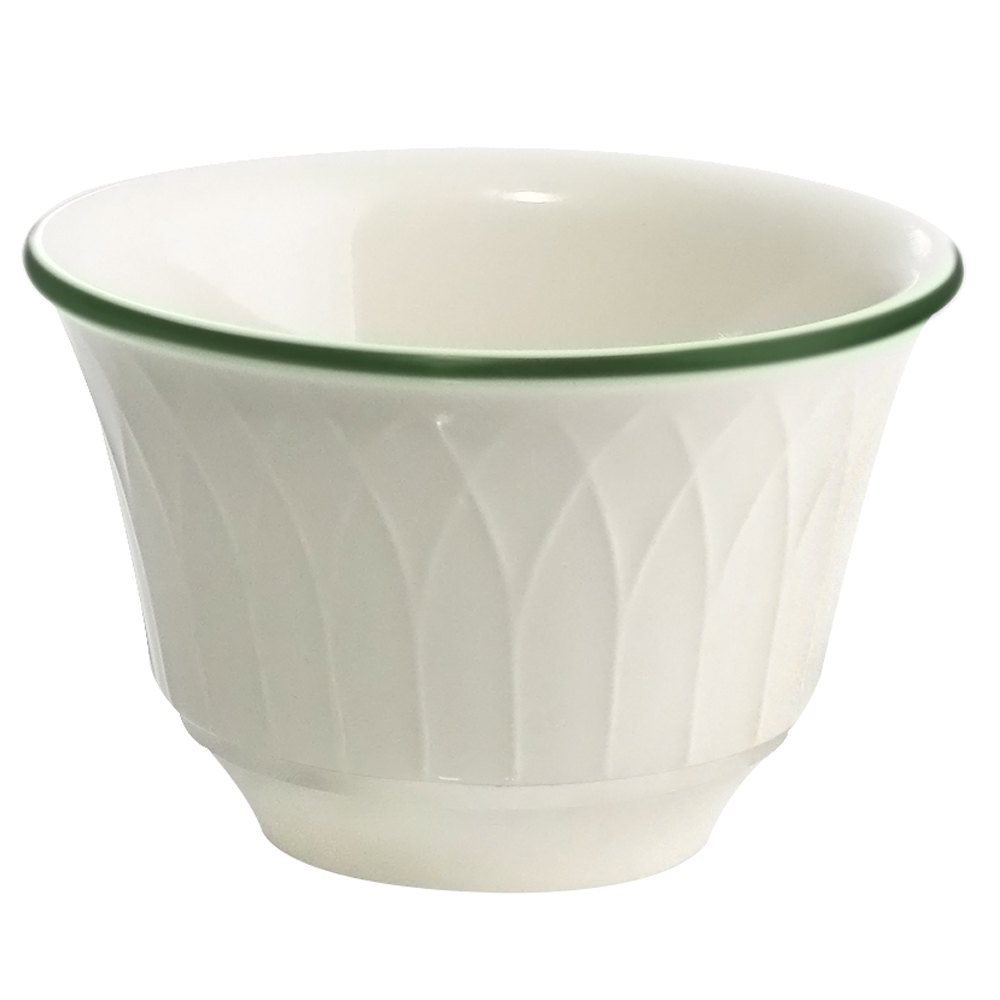 Homer Laughlin 1430-0330 Green Jade Gothic 7.5 oz. China Bouillon Bowl - Off White 36 / Case