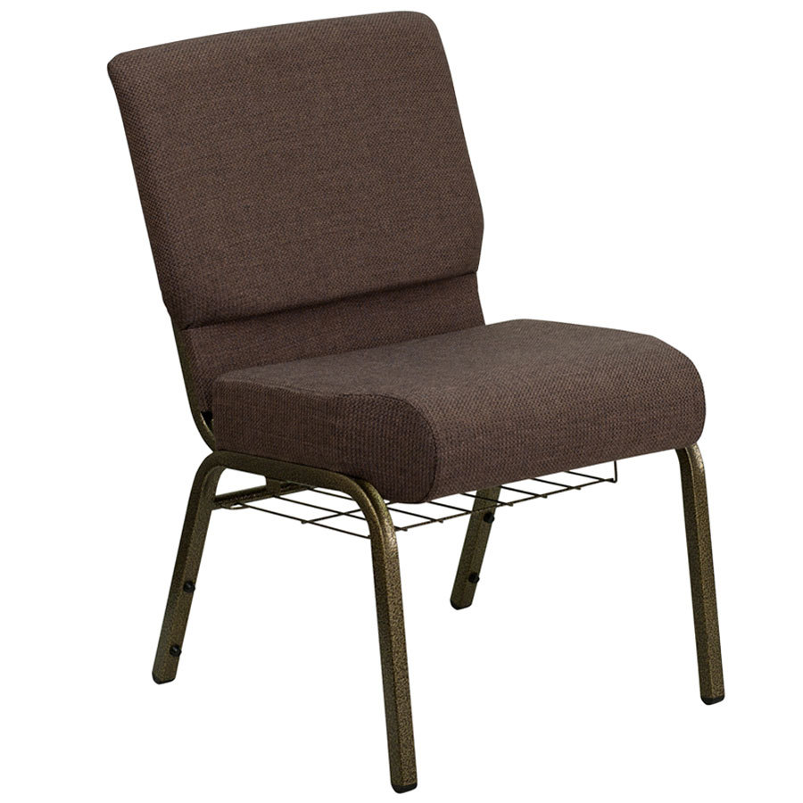 Brown 21 extra wide church chair with communion cup book rack gold vein frame - Pizza rapid silla ...