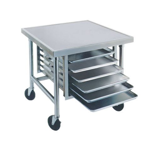 "Advance Tabco MT-MG-303 30"" x 36"" Stainless Steel Mobile Mixer Table with Galvanized Base and Tray Slides"