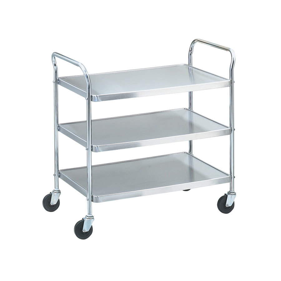 "Vollrath 97106 Knocked Down Stainless Steel 3 Shelf Utility Cart - 33"" x 21"" x 36 1/2"""
