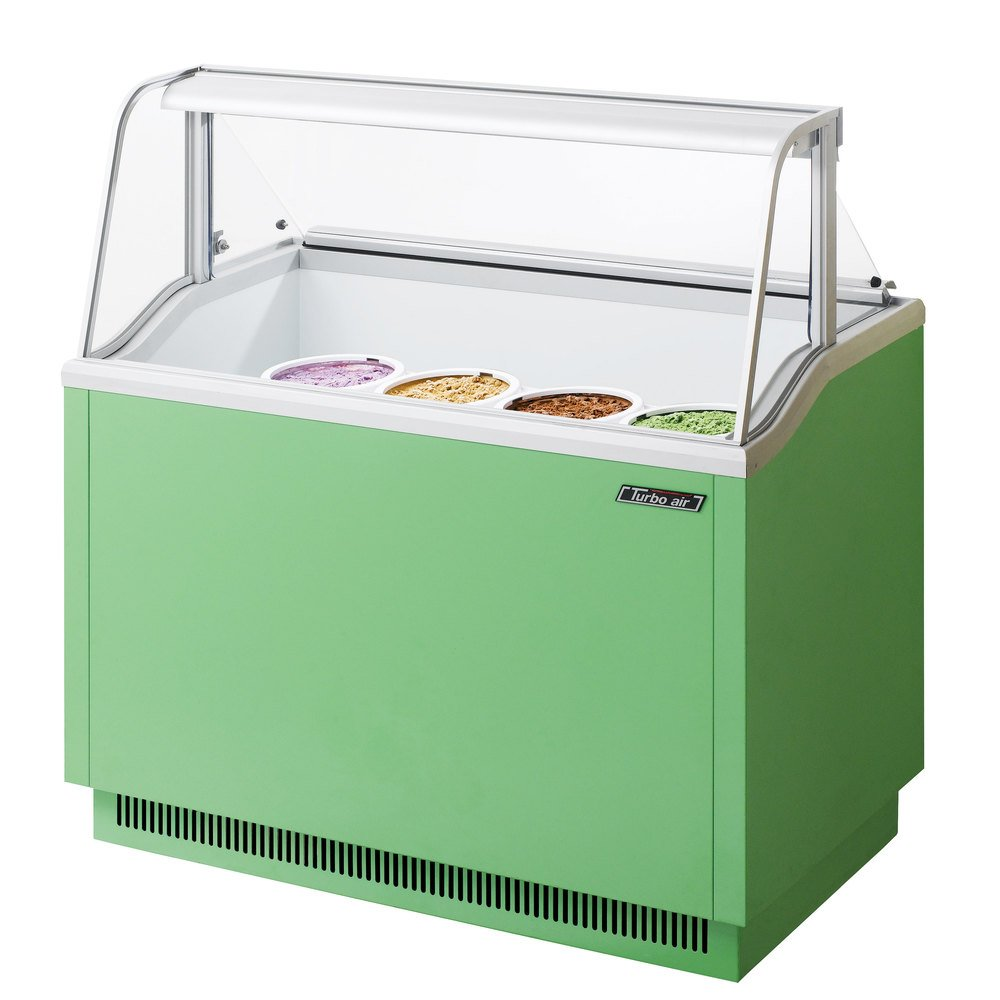 "Turbo Air TIDC-47G 47"" Green Low Curved Glass Ice Cream Dipping Cabinet"