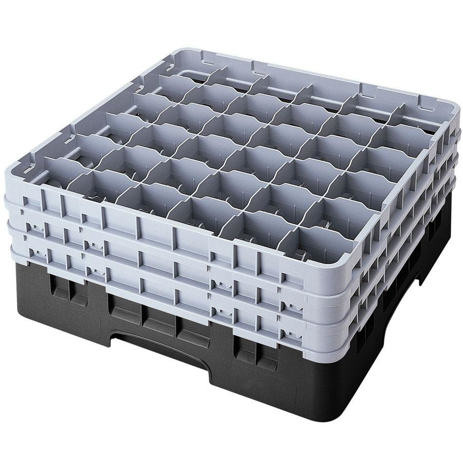 "Cambro 36S1114110 Black Camrack 36 Compartment 11 3/4"" Glass Rack"