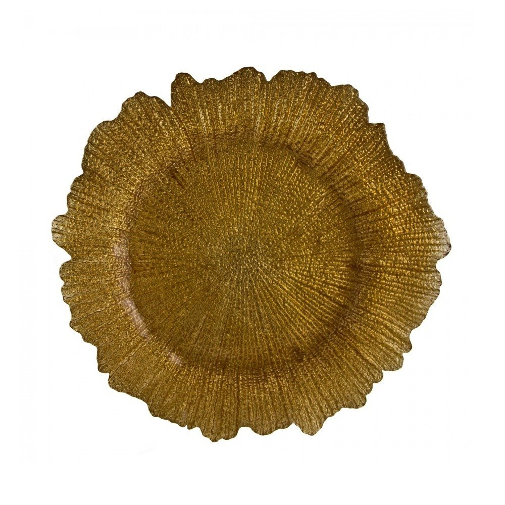 "10 Strawberry Street SPG340 13 3/4"" Sponge Gold Glass Charger Plate - 12/Case"