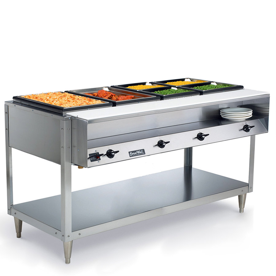 Vollrath 38104 ServeWell Electric 4 Well Hot Food Table 120V - Sealed Well
