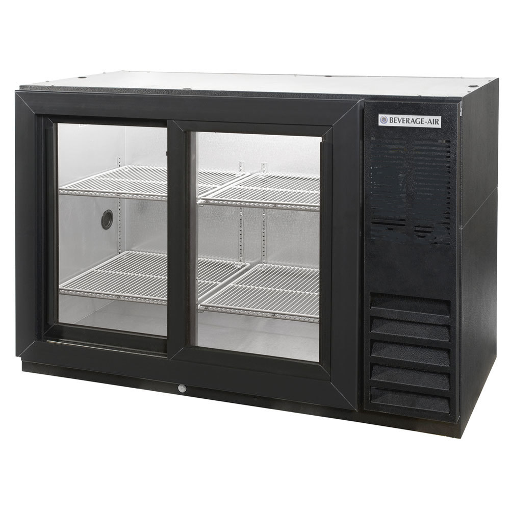 "Beverage Air BB48GSY-1-B-PT-LED 48"" Black Pass-Through Back Bar Refrigerator with Sliding Glass Doors - 115V"