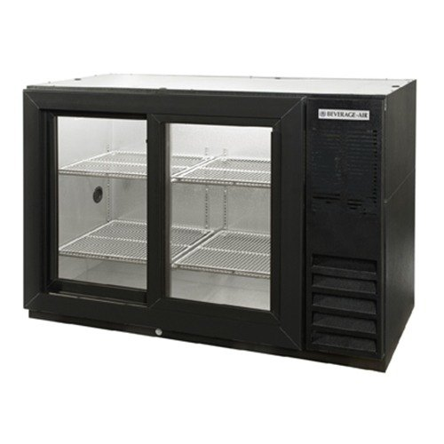 "Beverage Air (Bev Air) BB48GSY-1-B-PT 48"" Black Pass-Thru Back Bar Refrigerator with Sliding Glass Doors - 115V at Sears.com"