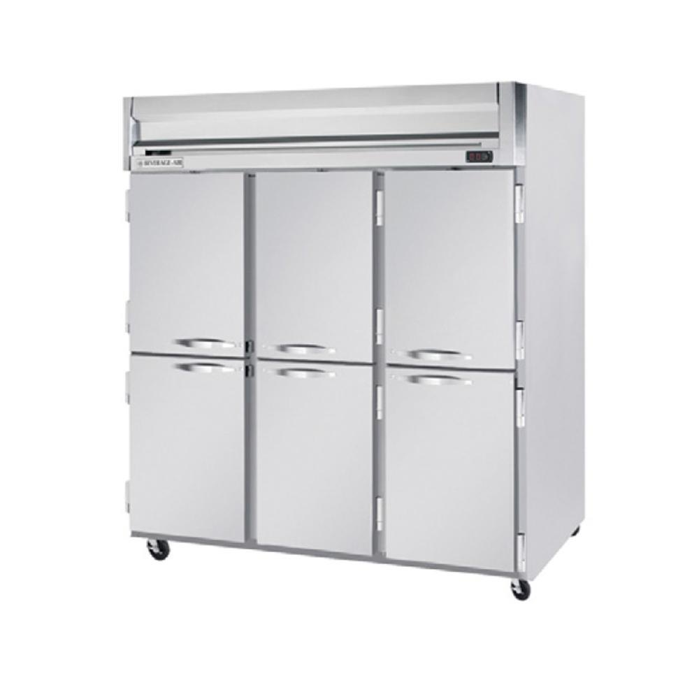 Beverage Air HF3-5HS 3 Section Solid Half Door Reach-In Freezer - 74 cu. ft., Stainless Steel Front, Gray Exterior