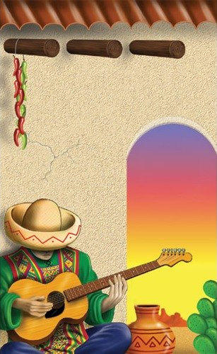 8 1/2 inch x 11 inch Menu Paper - Southwest Themed Mariachi Design Cover - 100 / Pack