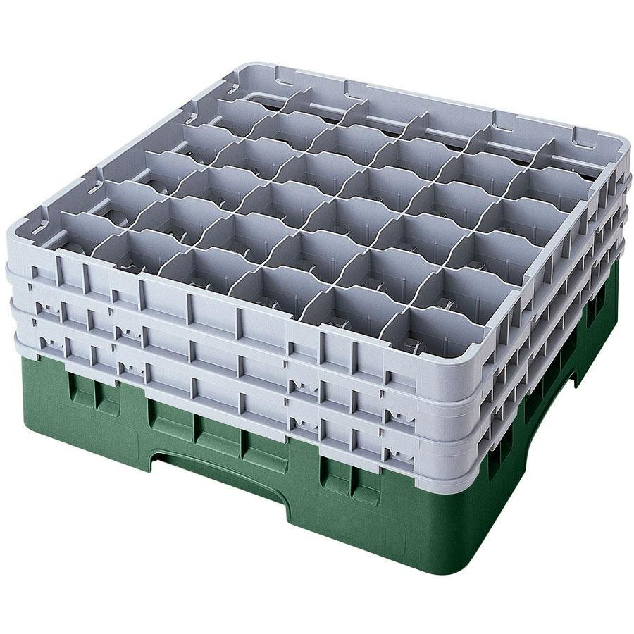 "Cambro 36S738119 Sherwood Green Camrack 36 Compartment 7 3/4"" Glass Rack"