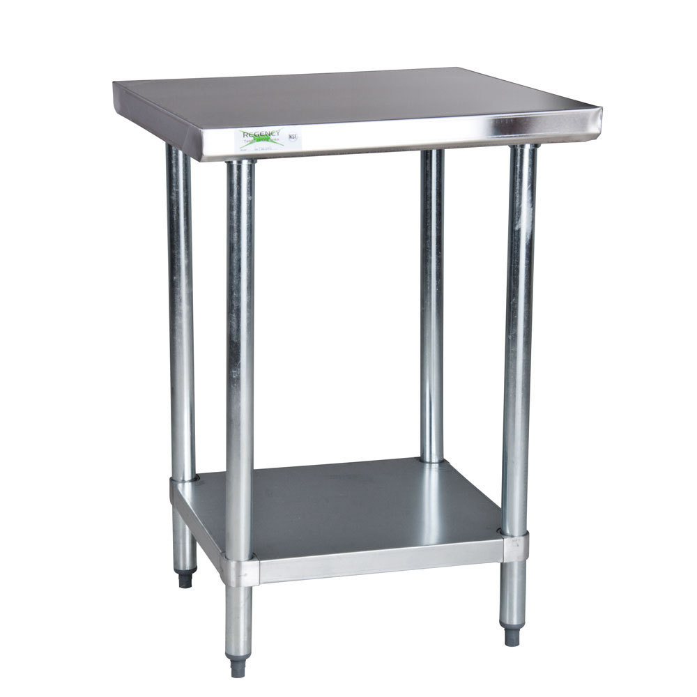 Regency 18 Gauge 304 Stainless Steel Commercial Work Table - 30 inch x 30 inch with Undershelf