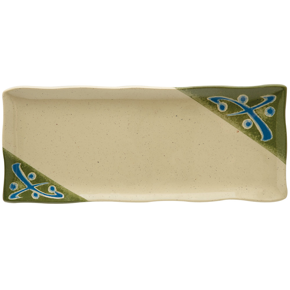 "GET 142-28-TD Japanese Traditional Wavy Edge Rectangular Plate 11"" x 4 1/2"" - 12/Case"