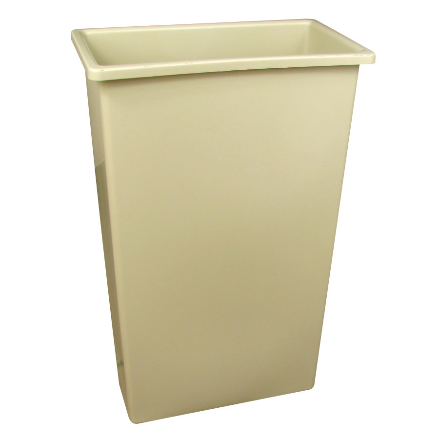 Continental 8322BE 23 Gallon Wall Hugger Beige Trash Can