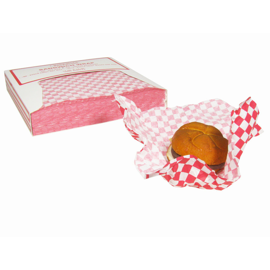 Sandwich Wrapping Paper : Red check deli sandwich wrap paper pack from