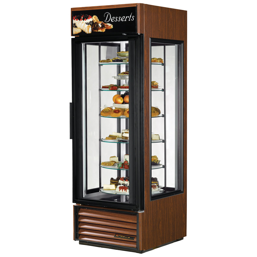 True G4SM-23-RGS Rosewood Four Sided Glass Door Refrigerator Merchandiser with Revolving Shelves - 23 Cu. Ft.