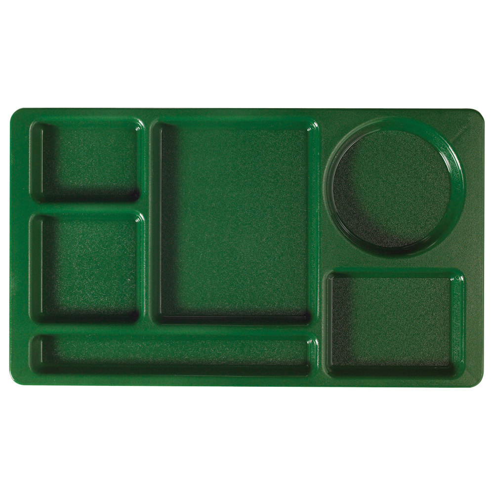 "Cambro 915CW119 Camwear (2 x 2) 8 3/4"" x 15"" Sherwood Green Six Compartment Serving Tray - 24/Case"
