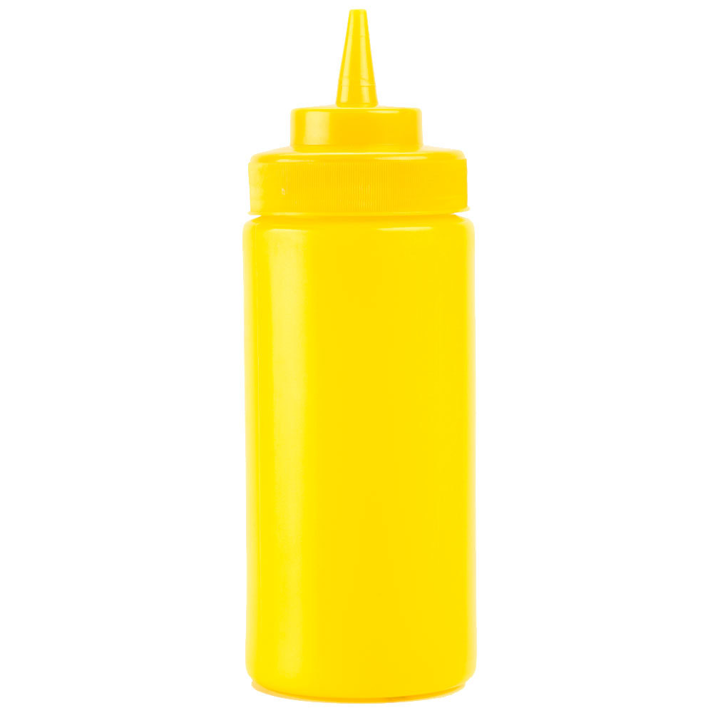 16 oz. Yellow Wide Mouth Squeeze Bottle - 6/Pack
