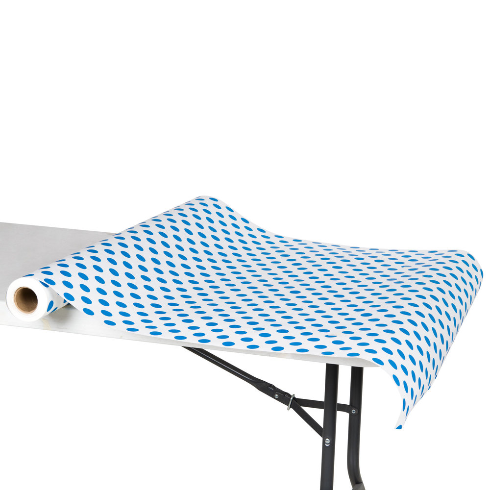 "40"" x 100' Paper Table Cover with Blue Polka Dots"