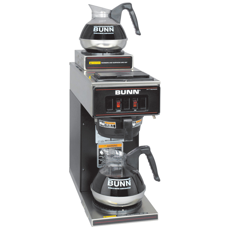 Bunn Industrial Coffee Maker Parts : Bunn VP17-2 Black Low Profile Pourover Coffee Brewer with 2 Warmers (Bunn 13300.0012)