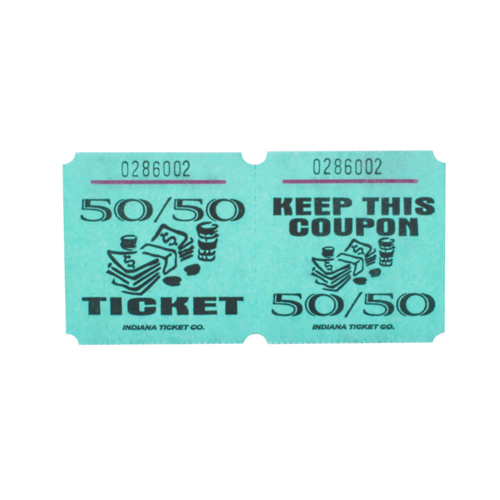Green 50/50 Marquee Raffle Tickets - 1000 / Roll