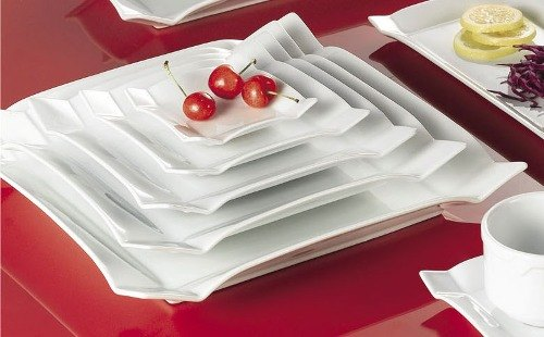 "CAC TMS-21 Times Square 12"" Bright White China Square Plate - 12/Case"