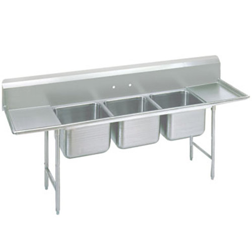Advance Tabco 93-3-54-18RL Regaline Three Compartment Stainless Steel Sink with Two Drainboards - 91""