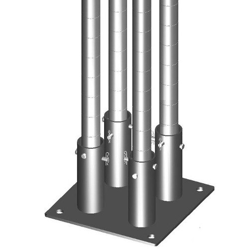 "Metro SASES50BP-4 Super Erecta 7"" x 12"" x 1/2"" Four-Post Seismic Bolt Plate Kit for Super Erecta / Super Adjustable / qwikSLOT Posts"