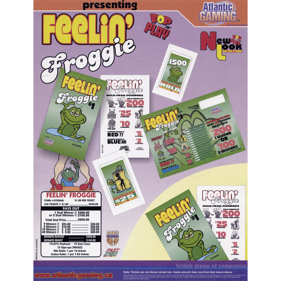 """Feelin' Froggie"" 1 Window Pull Tab Tickets - 540 Tickets Per Deal - Total Payout: $400 at Sears.com"