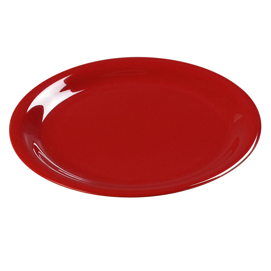 "Carlisle 3300605 7 1/4"" Red Sierrus Narrow Rim Salad Plate - 48 / Case"