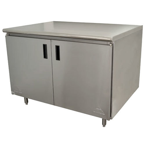 "Advance Tabco HB-SS-304M 30"" x 48"" 14 Gauge Enclosed Base Stainless Steel Work Table with Hinged Doors and Fixed Midshelf"
