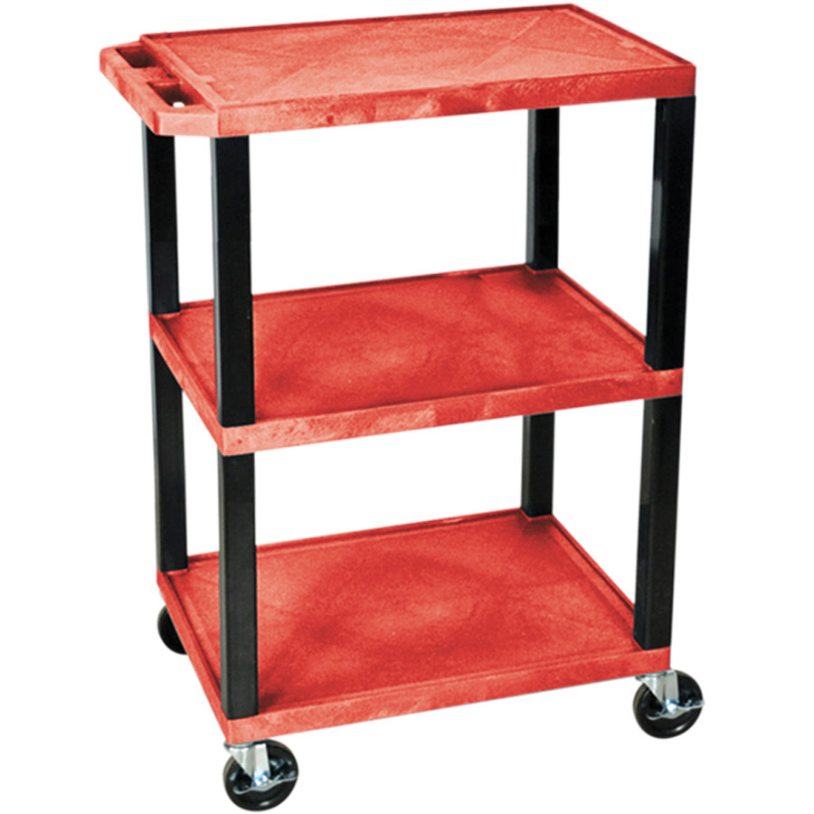 "Luxor WT34RS Red 34"" Three Shelf AV Utility Cart"