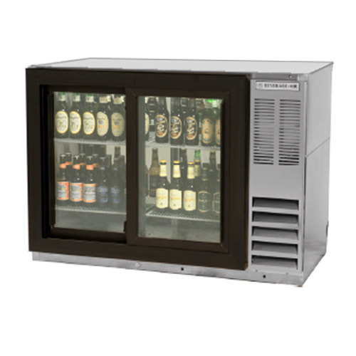 "Beverage-Air BB48GSY-1-S-LED 48"" Stainless Steel Back Bar Refrigerator with Two Sliding Glass Doors"