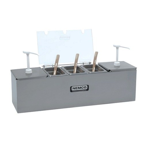 "Nemco 88101-CB-1 24"" Stainless Steel Condiment Bar with Two 1.5 Qt. Pumps and 1.1 Qt. Condiment Trays"