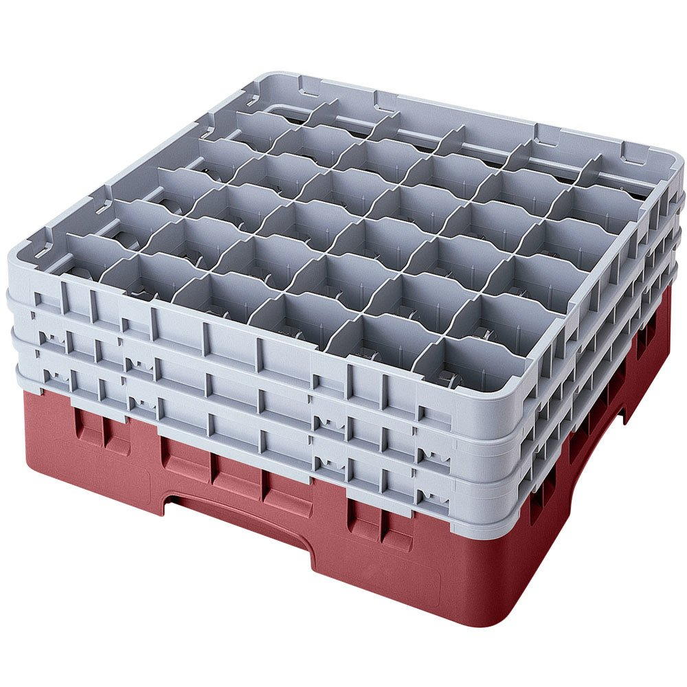 "Cambro 36S958163 Red Camrack 36 Compartment 10 1/8"" Glass Rack"