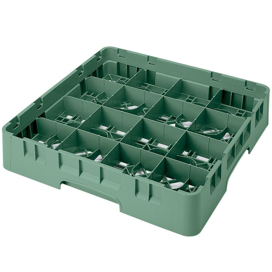 "Cambro 16S1114119 Camrack 11 3/4"" High Sherwood Green 16 Compartment Glass Rack"