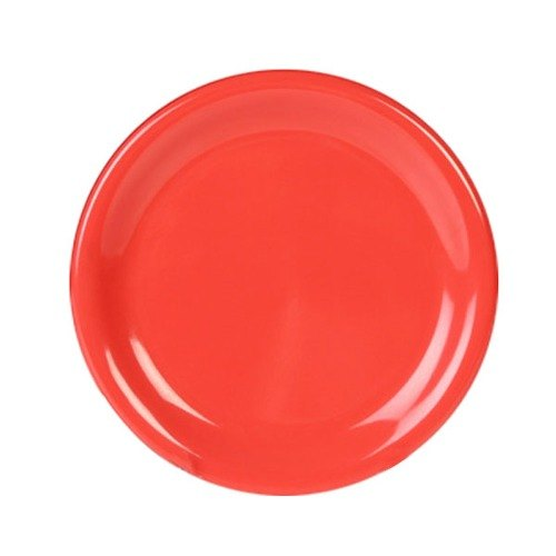 "Thunder Group CR009RD 9 1/4"" Orange Wide Rim Melamine Plate - 12/Pack"