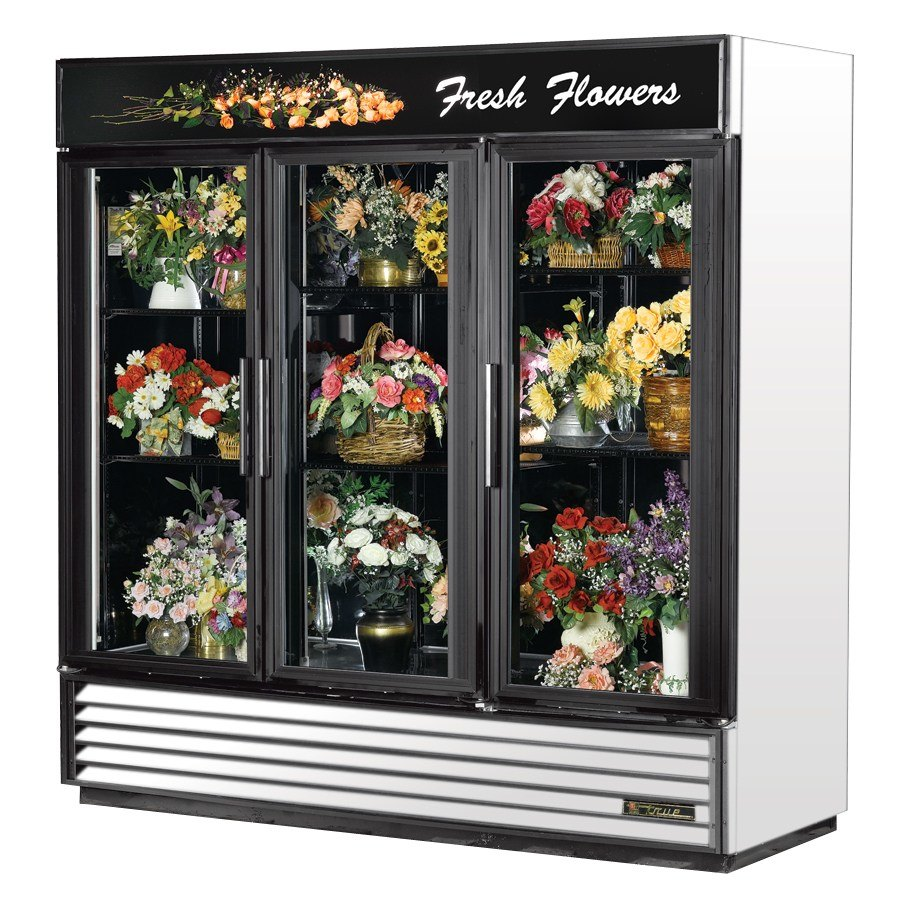 True GDM-72FC White Three Glass Swing Door Floral Case - 72 Cu. Ft.