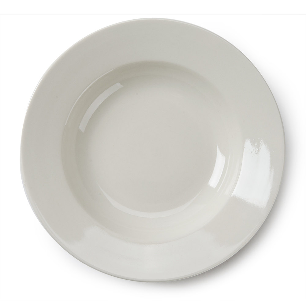 Wide Rim 10 oz. American White (Ivory / Eggshell) Rolled Edge China Soup Bowl - 12 / Pack