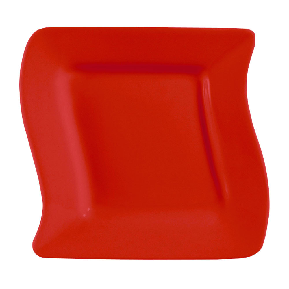 "CAC SOH-8R Color Soho 8 1/2"" Red Square Stoneware Plate - 24/Case"
