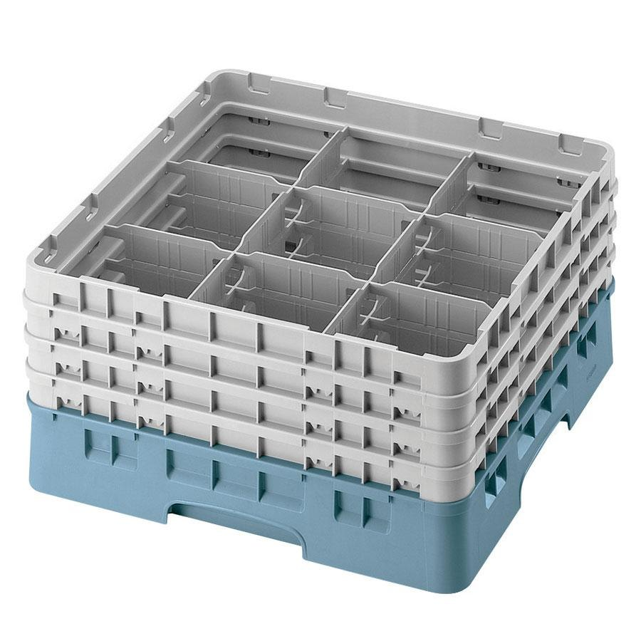 "Cambro 9S638414 Teal Camrack 9 Compartment 6 7/8"" Glass Rack"