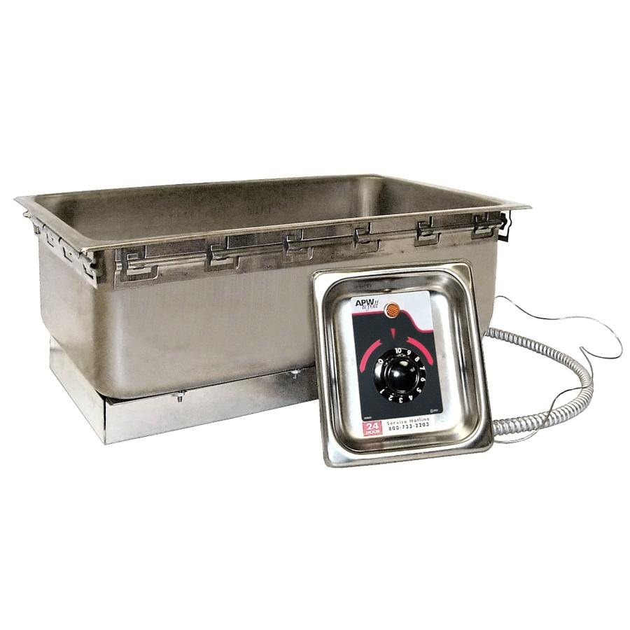 APW Wyott TM-12LD UL 1/2 Size Uninsulated One Pan Drop In Hot Food Well with Drain and UL Electrical Kit