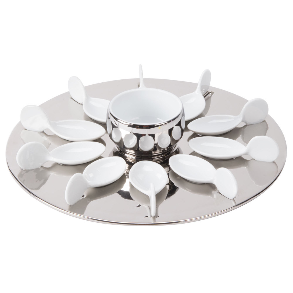 "CAC PTP-21-SL Bright White Party Collection Porcelain 10 Spoon Set with 12 1/4"" Silver Tray and 7 oz. Bowl - 4/Case"
